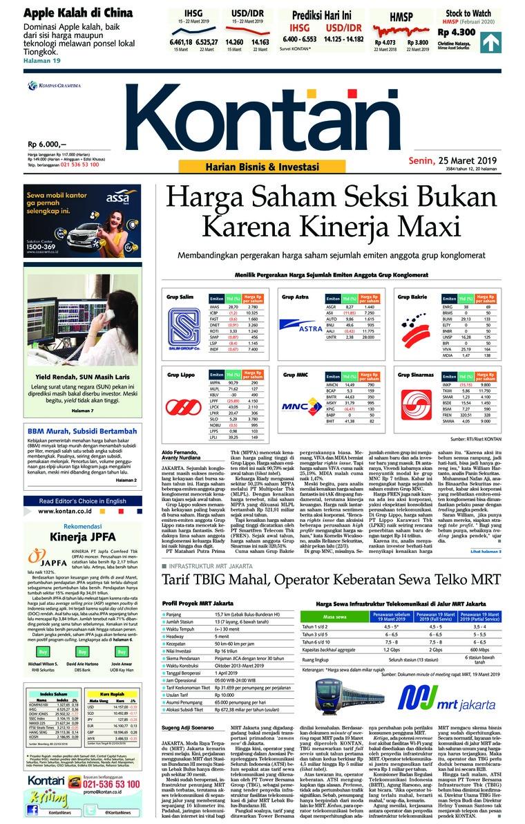Koran Kontan Digital Newspaper 25 March 2019