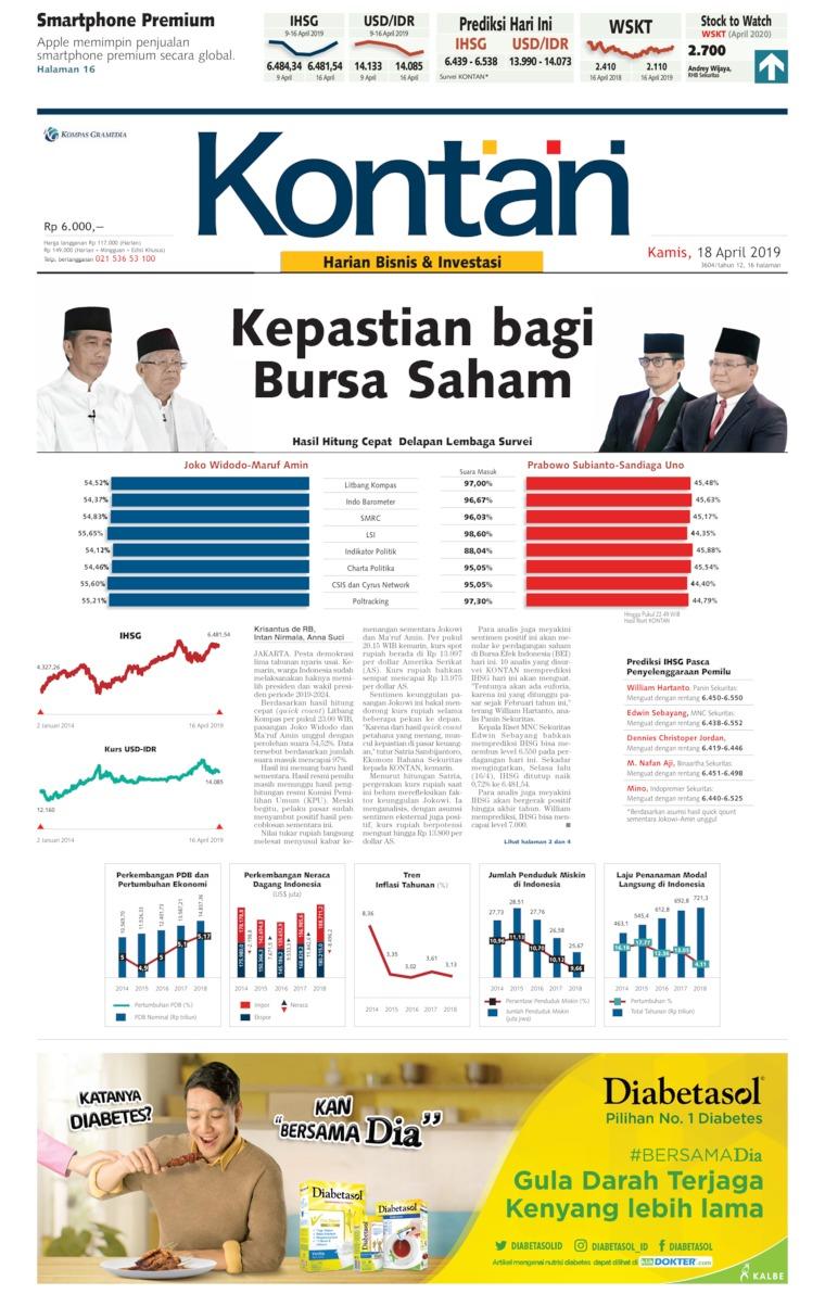 Koran Digital Koran Kontan 18 April 2019