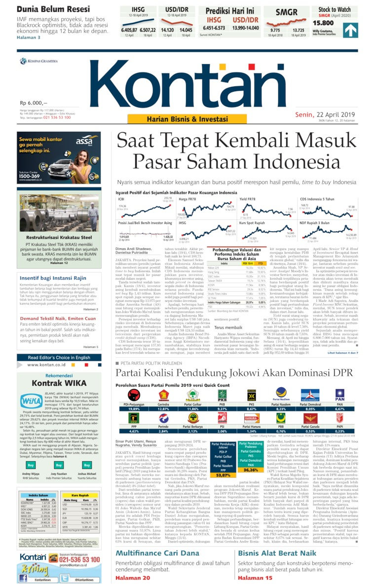 Koran Digital Koran Kontan 22 April 2019