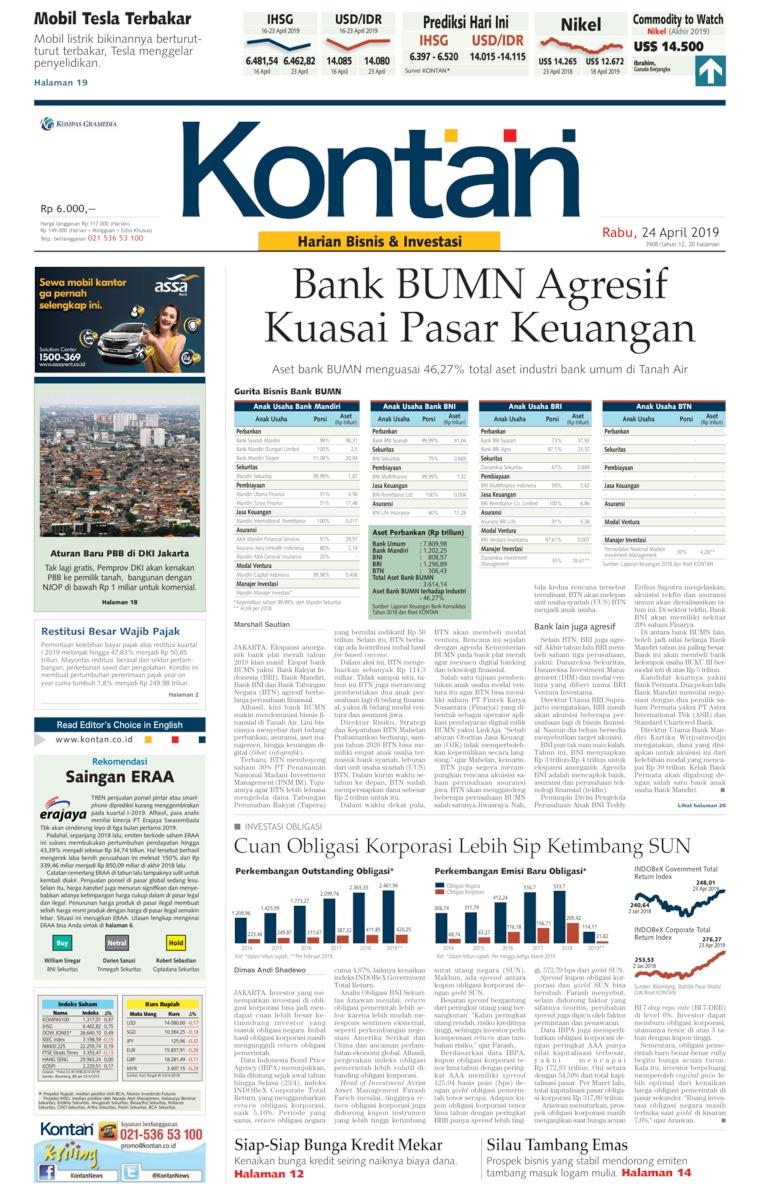 Koran Kontan Digital Newspaper 24 April 2019