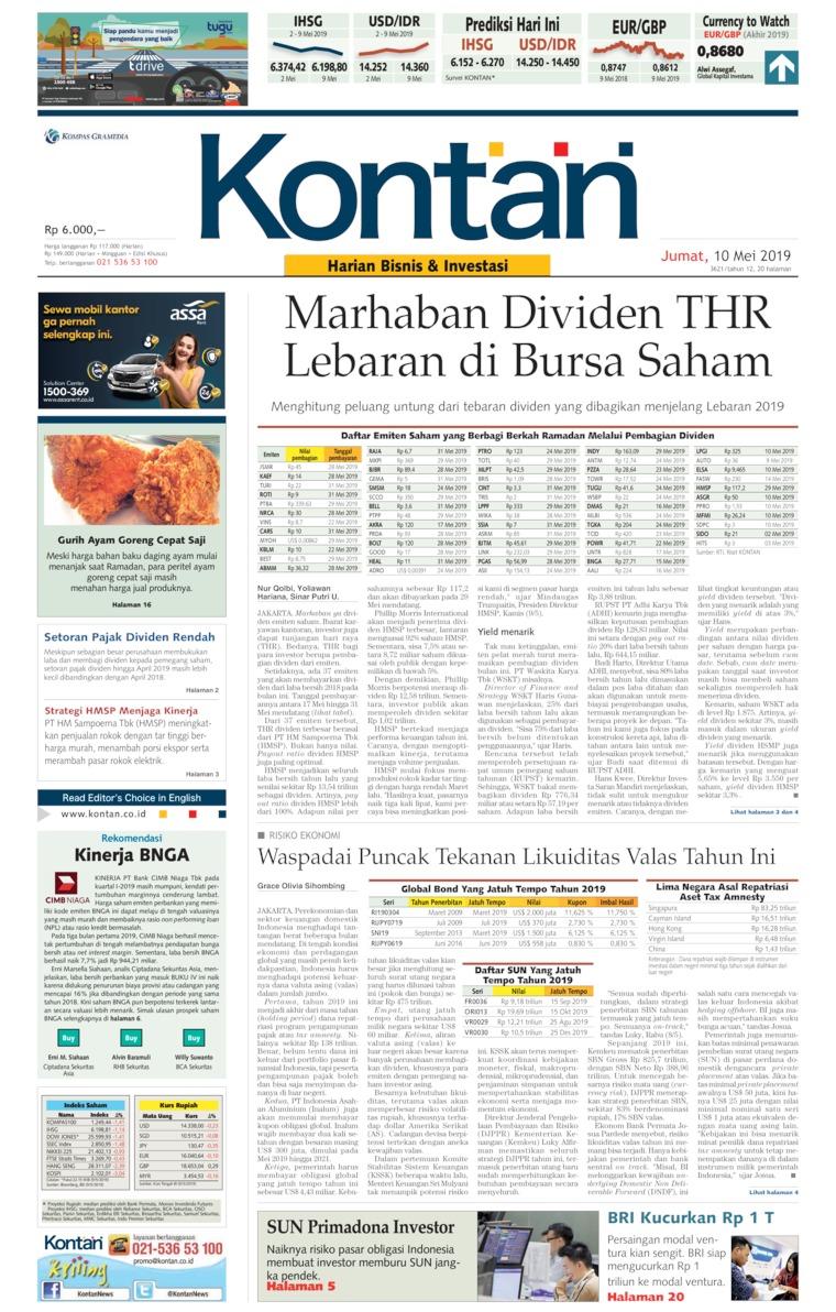 Koran Kontan Digital Newspaper 10 May 2019