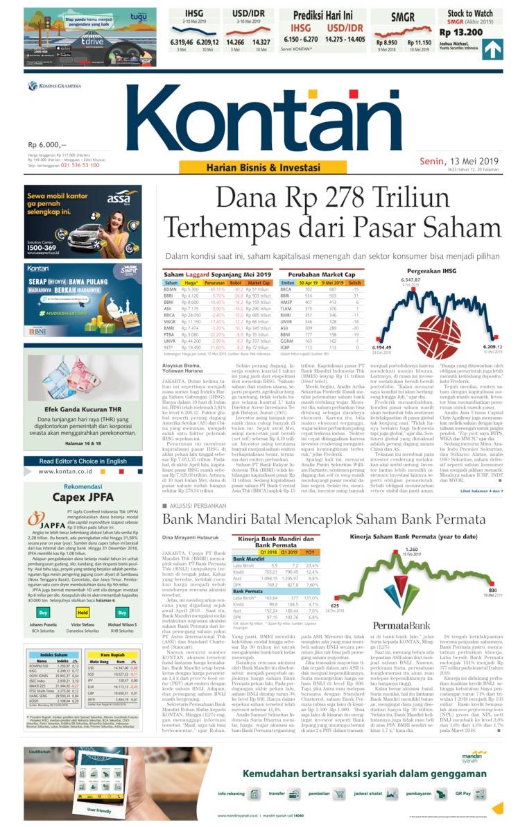 Koran Kontan Digital Newspaper 13 May 2019