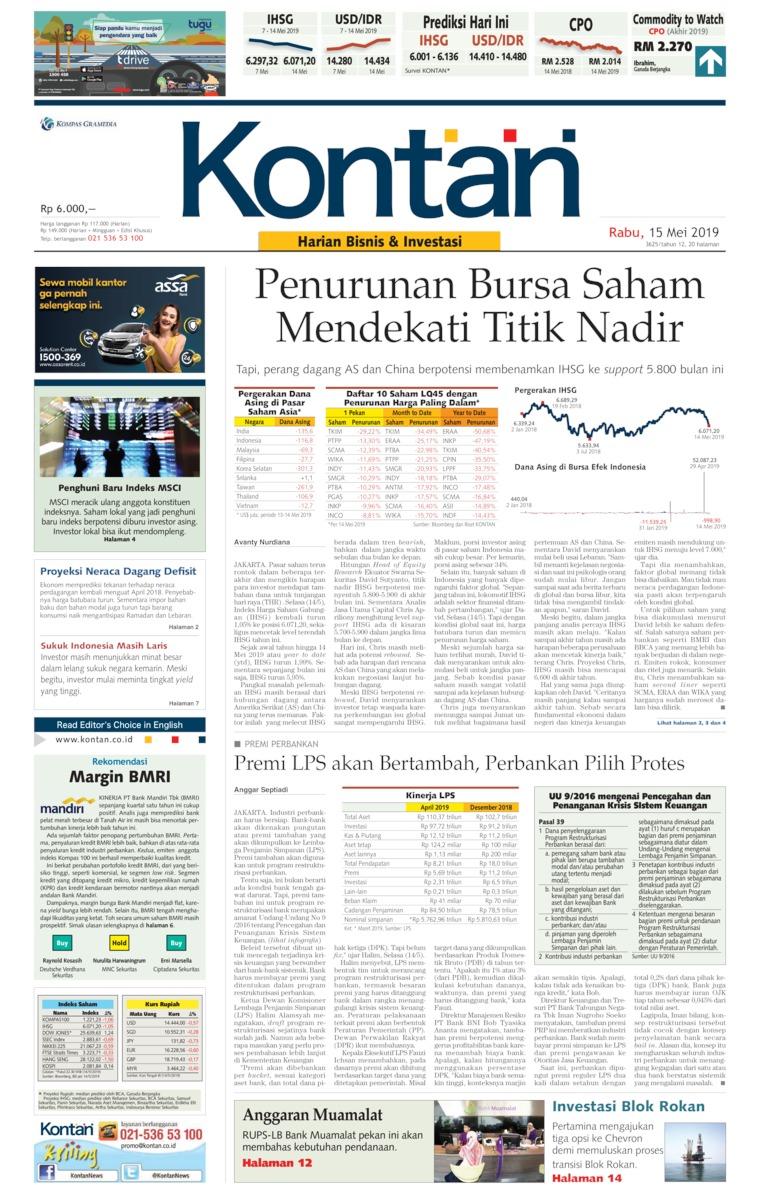 Koran Kontan Digital Newspaper 15 May 2019