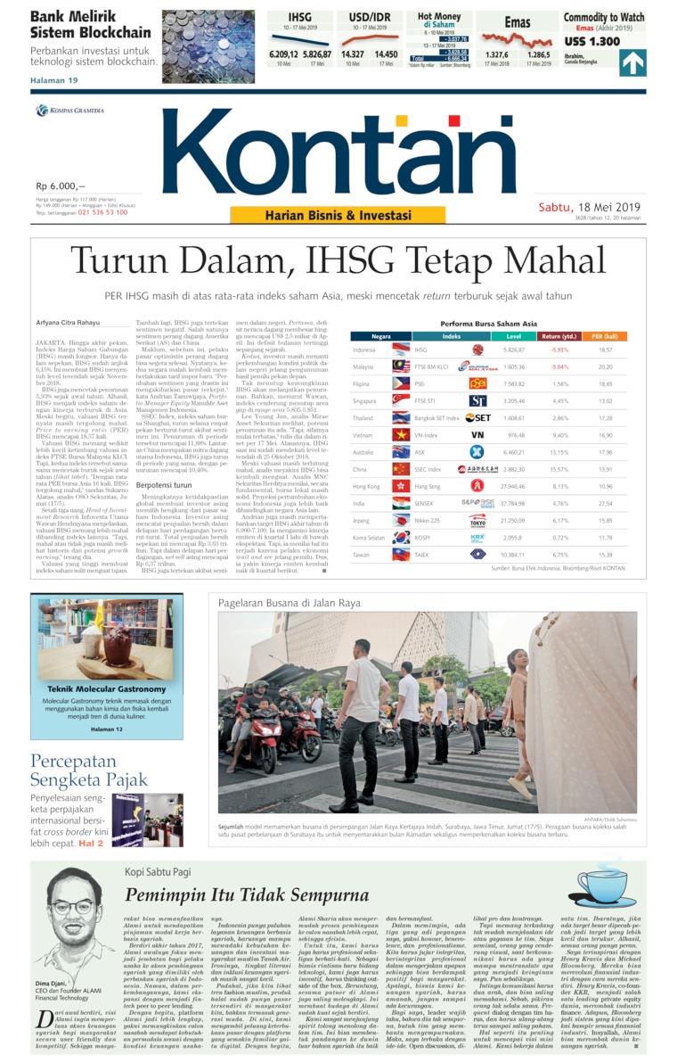 Koran Kontan Digital Newspaper 18 May 2019