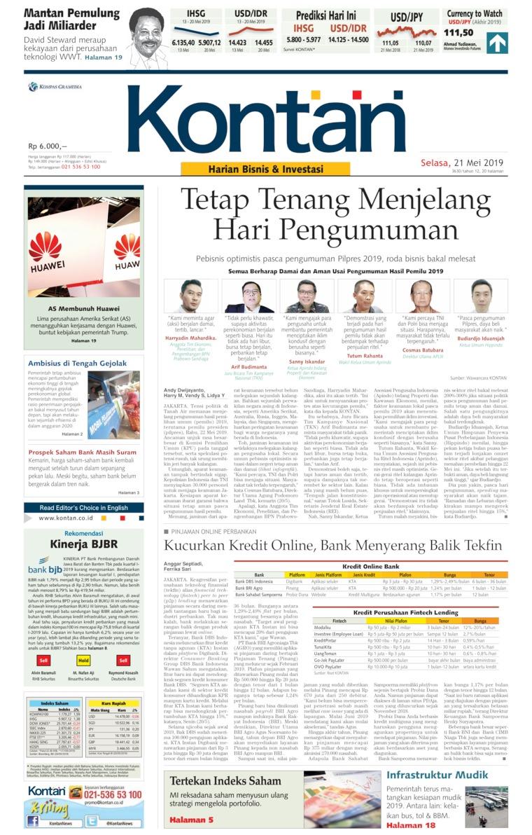 Koran Kontan Digital Newspaper 21 May 2019