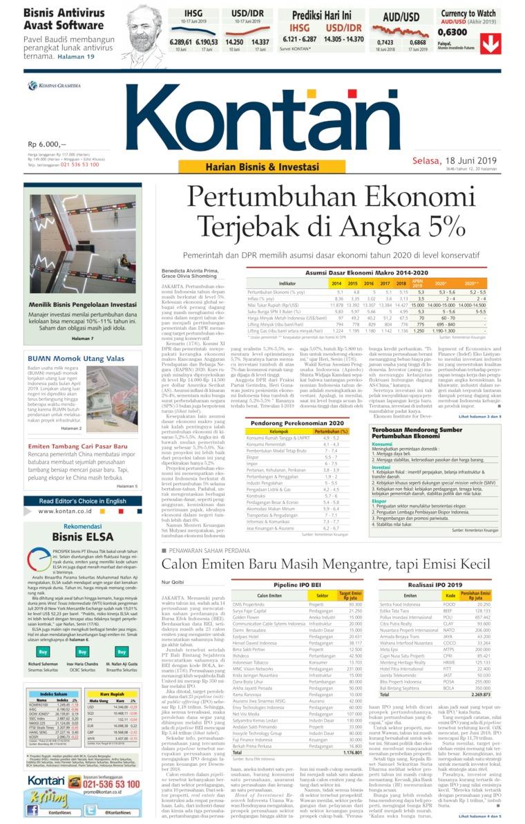 Koran Kontan Digital Newspaper 18 June 2019