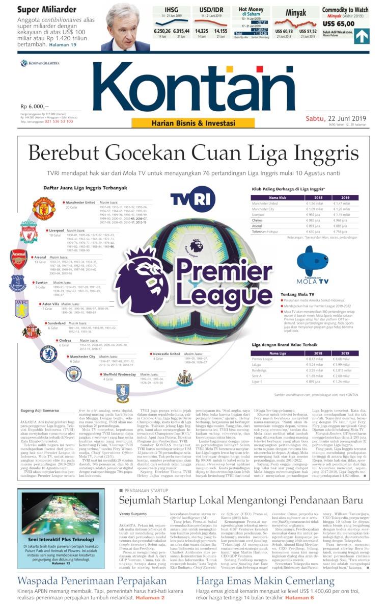 Koran Kontan Digital Newspaper 22 June 2019
