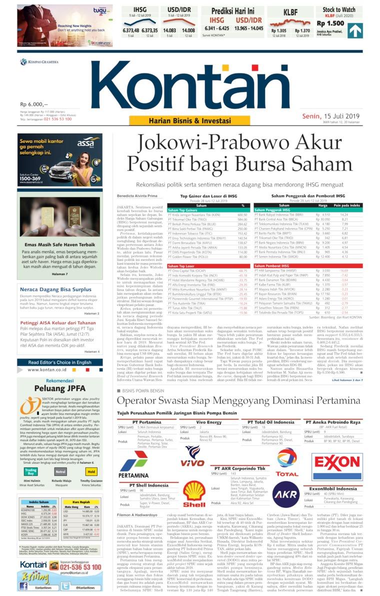 Koran Digital Koran Kontan 15 Juli 2019