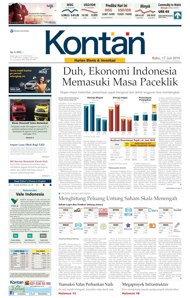 Koran Kontan Digital Newspaper 17 July 2019