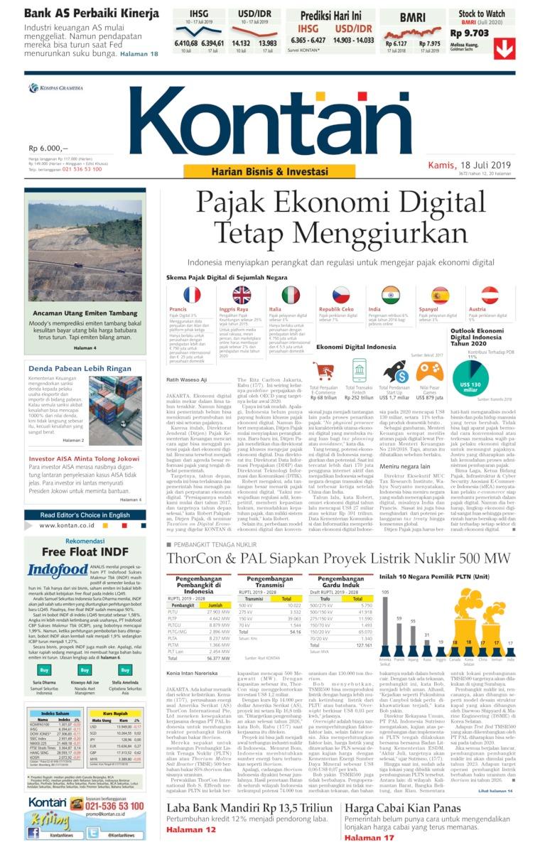 Koran Digital Koran Kontan 18 Juli 2019