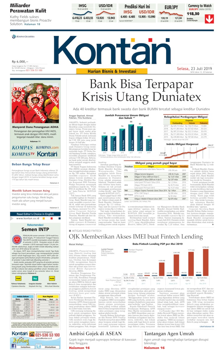 Koran Kontan Digital Newspaper 23 July 2019