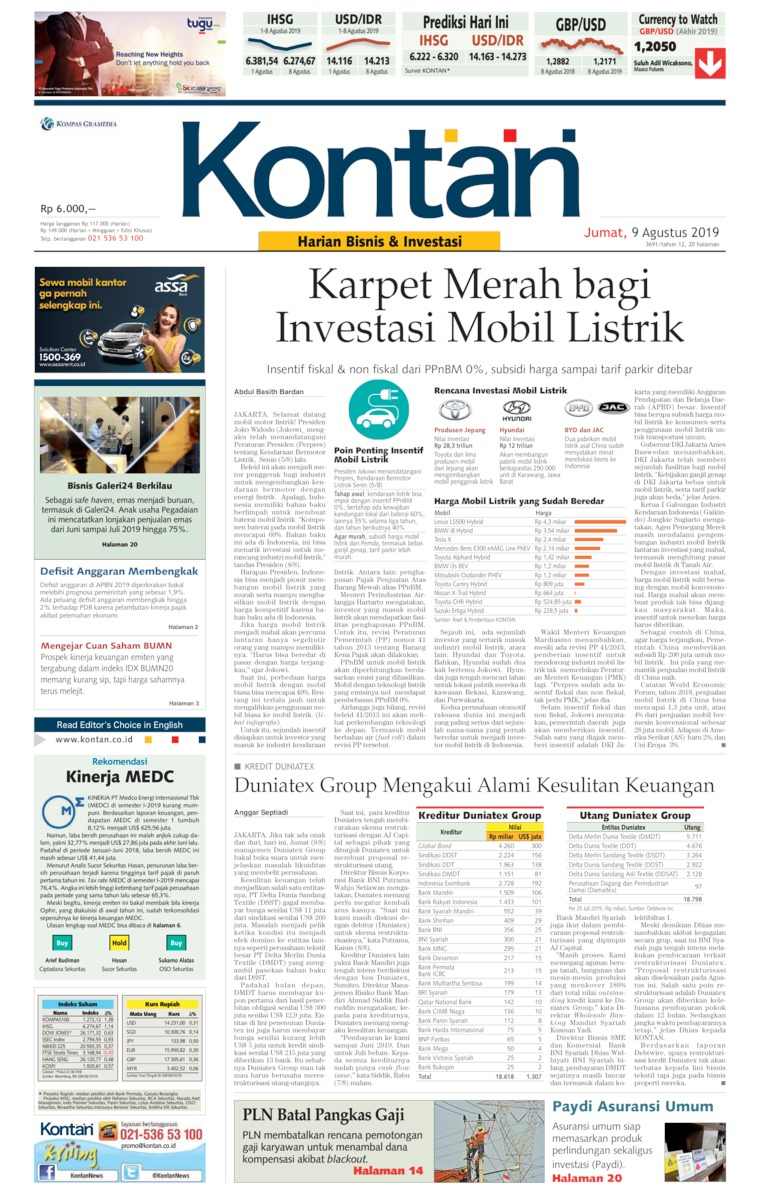 Koran Digital Koran Kontan 09 Agustus 2019