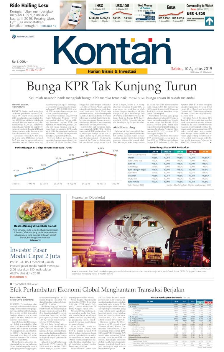 Koran Digital Koran Kontan 10 Agustus 2019