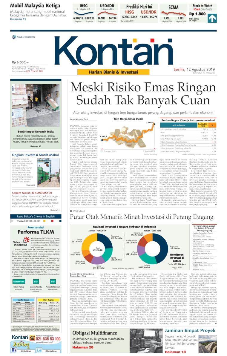 Koran Digital Koran Kontan 12 Agustus 2019
