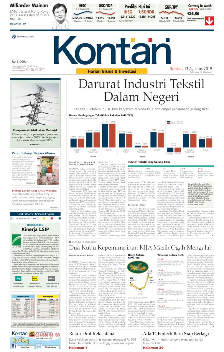 Koran Digital Koran Kontan 13 Agustus 2019