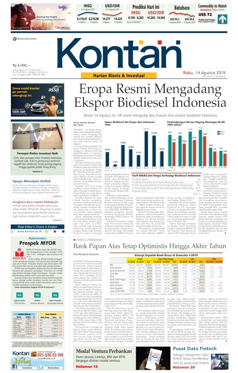 Koran Digital Koran Kontan 14 Agustus 2019
