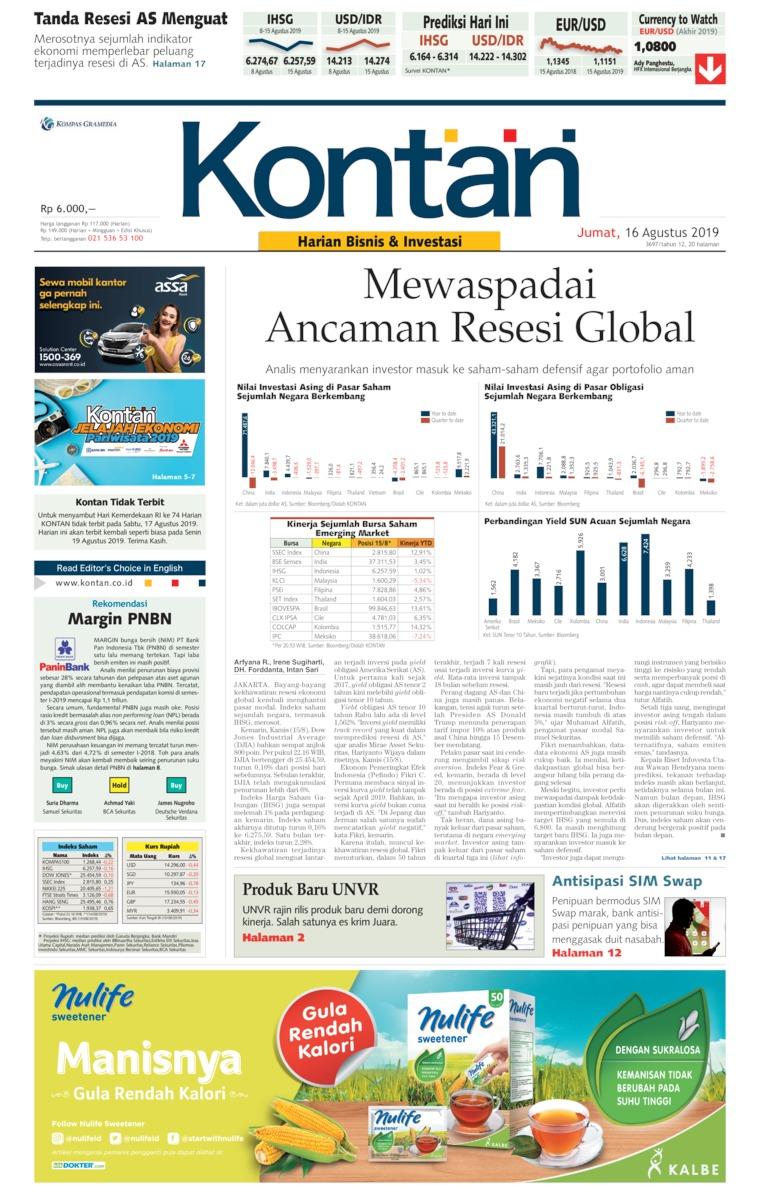 Koran Digital Koran Kontan 16 Agustus 2019