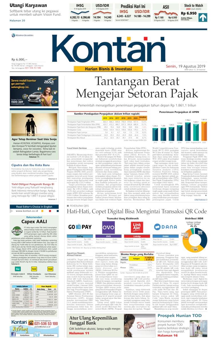 Koran Kontan Digital Newspaper 19 August 2019