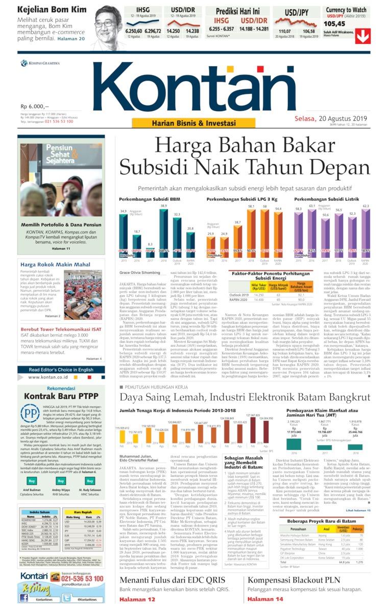 Koran Digital Koran Kontan 20 Agustus 2019