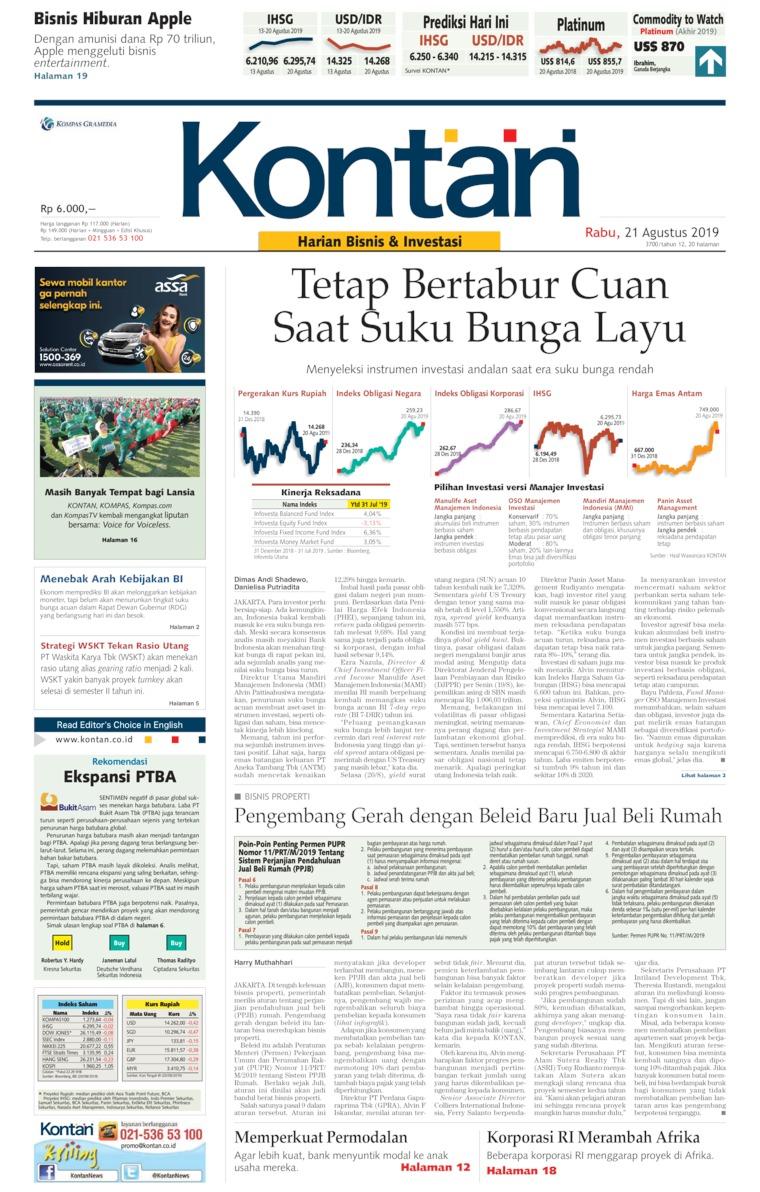 Koran Digital Koran Kontan 21 Agustus 2019