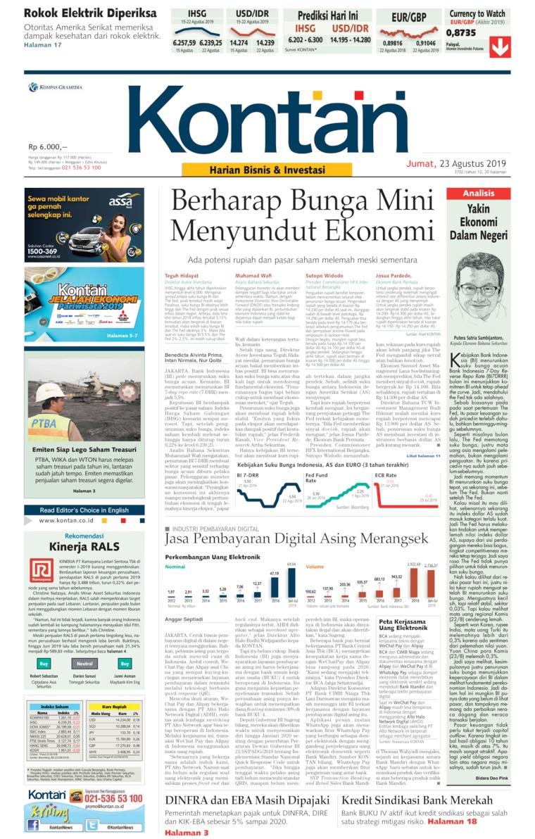Koran Kontan Digital Newspaper 23 August 2019