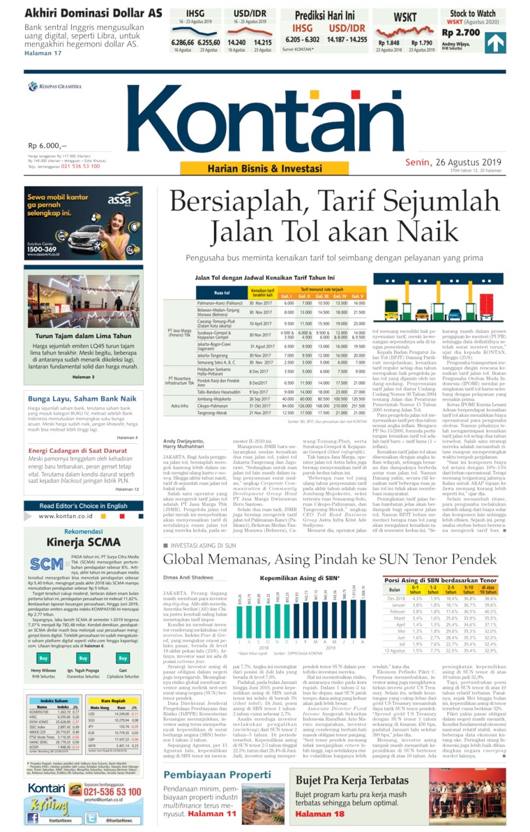 Koran Kontan Digital Newspaper 26 August 2019