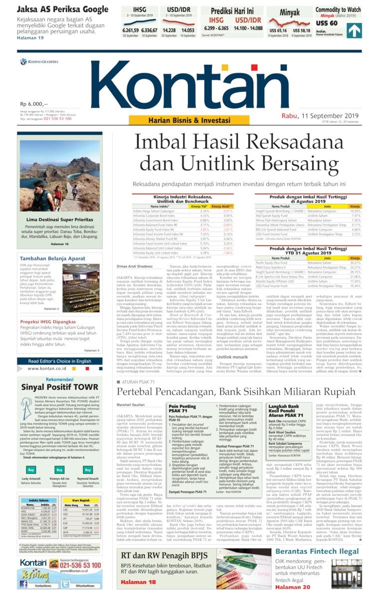 Koran Kontan Digital Newspaper 11 September 2019