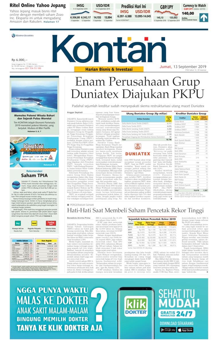 Koran Kontan Digital Newspaper 13 September 2019
