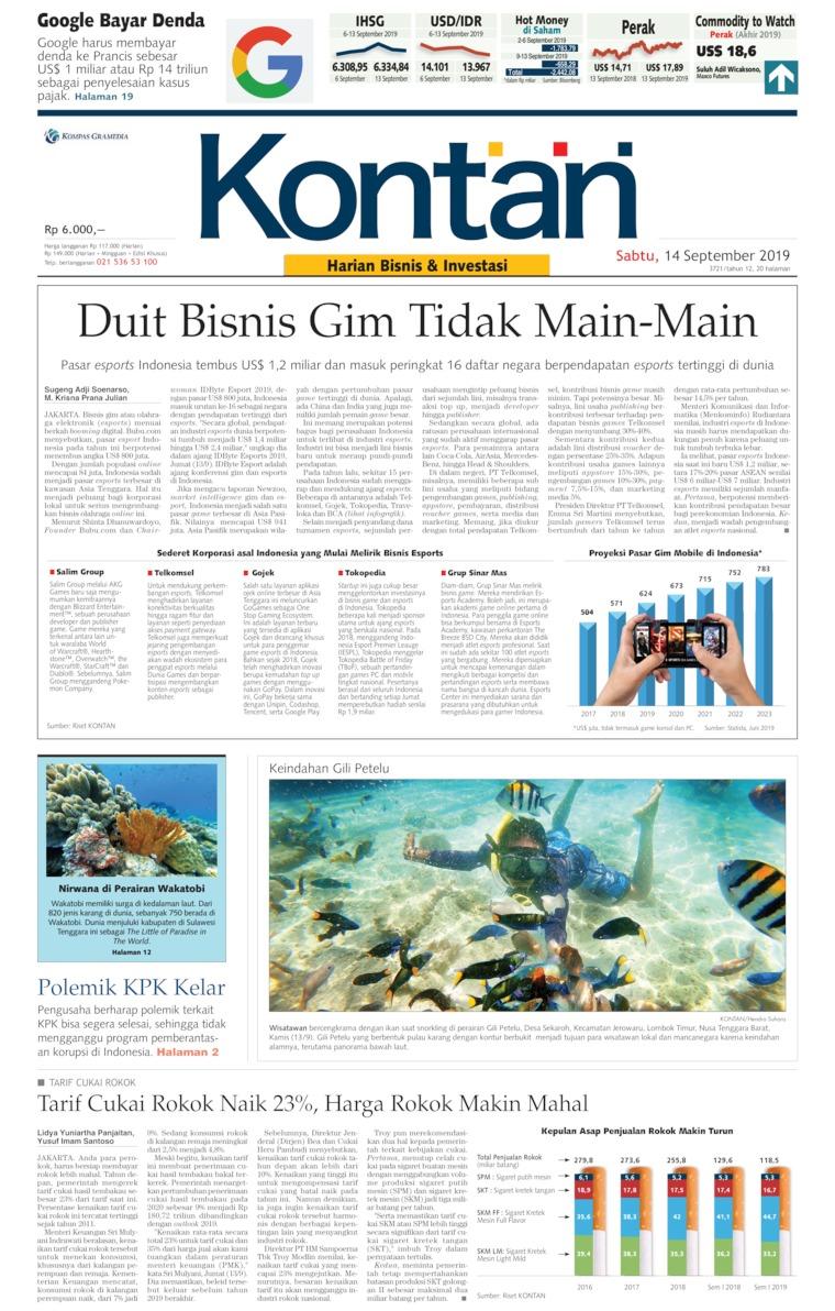 Koran Kontan Digital Newspaper 14 September 2019