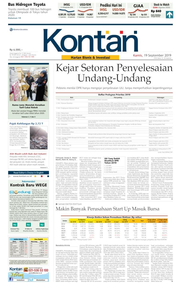 Koran Kontan Digital Newspaper 19 September 2019
