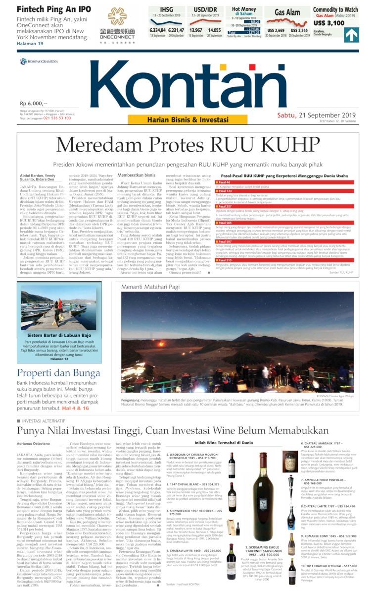 Koran Digital Koran Kontan 21 September 2019