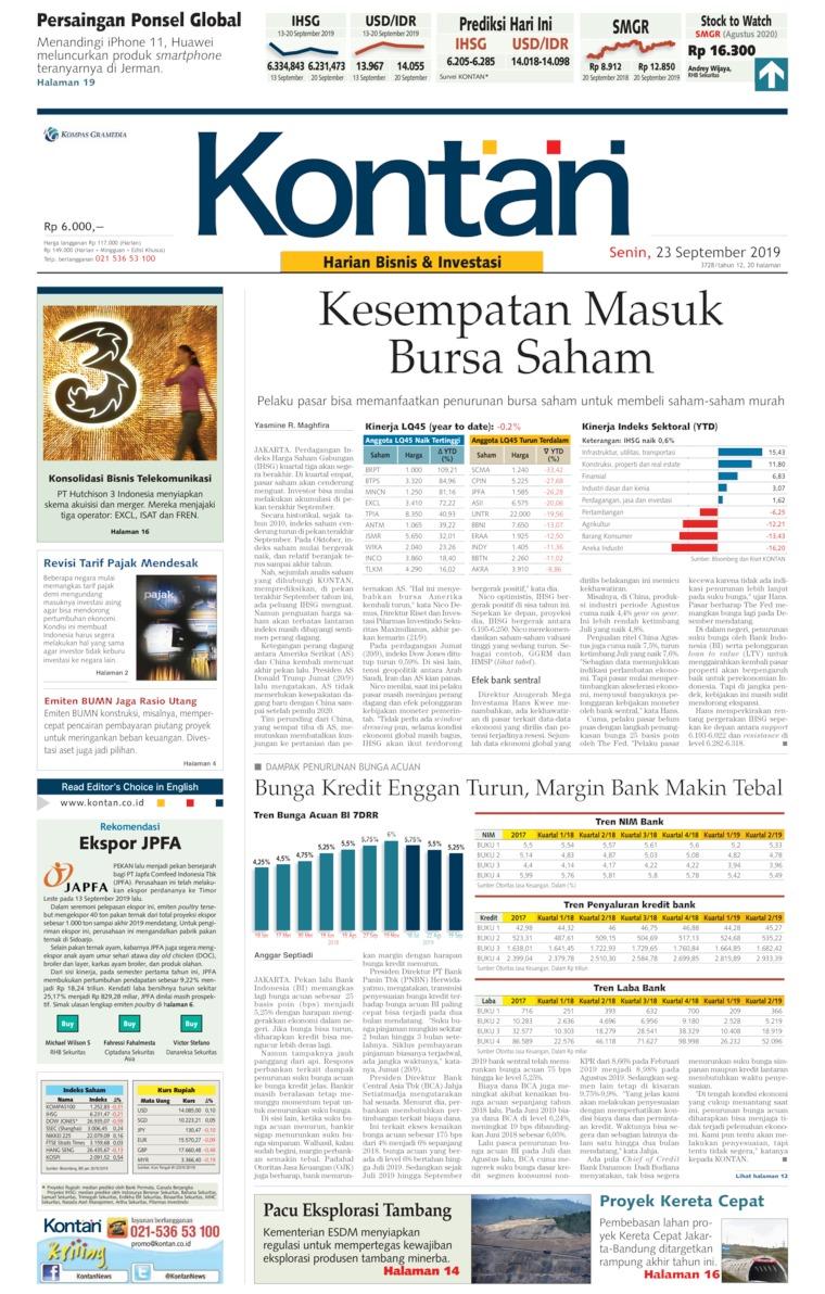 Koran Kontan Digital Newspaper 23 September 2019