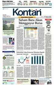 Cover Koran Kontan 22 Februari 2018