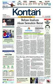 Cover Koran Kontan 16 Juli 2018