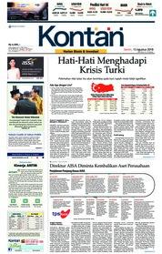 Cover Koran Kontan 13 Agustus 2018