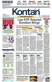Cover Koran Kontan 12 September 2018