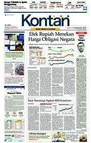 Cover Koran Kontan 13 September 2018