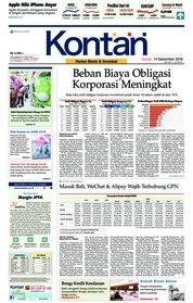 Cover Koran Kontan 14 September 2018