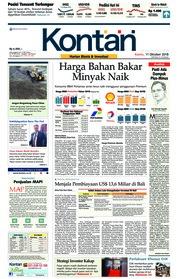 Cover Koran Kontan 11 Oktober 2018