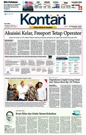 Cover Koran Kontan 22 Desember 2018