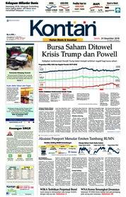 Cover Koran Kontan 24 Desember 2018