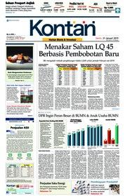 Cover Koran Kontan 21 Januari 2019