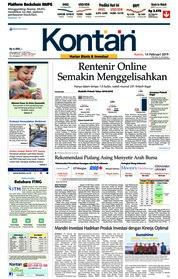 Cover Koran Kontan 14 Februari 2019