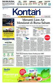 Cover Koran Kontan 22 Maret 2019