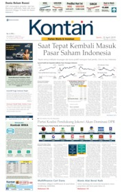 Cover Koran Kontan 22 April 2019