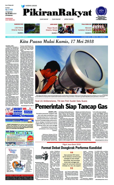 Pikiran Rakyat Digital Newspaper 16 May 2018