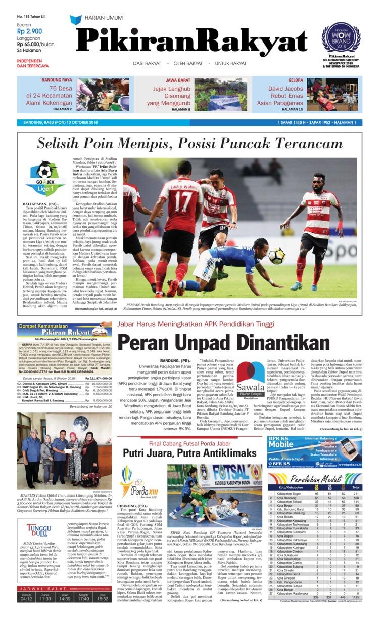 Koran Digital Pikiran Rakyat 10 Oktober 2018
