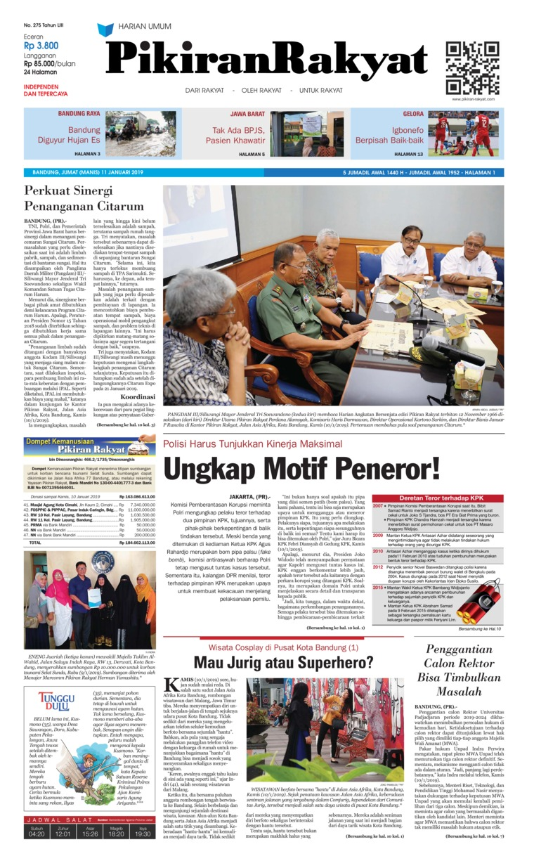 Pikiran Rakyat Digital Newspaper 11 January 2019