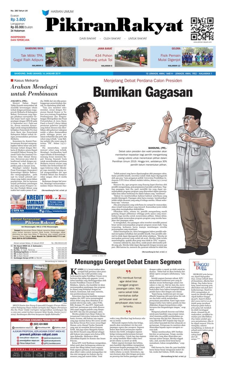 Koran Digital Pikiran Rakyat 16 Januari 2019