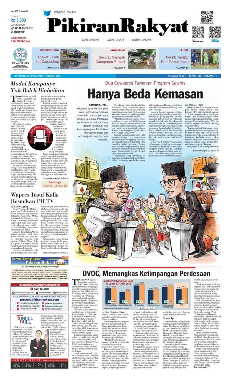 Pikiran Rakyat Digital Newspaper 18 March 2019